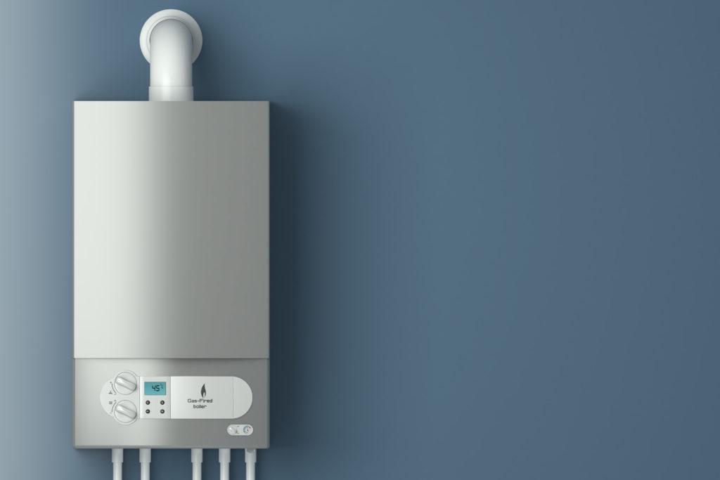 Weiße Gasbrennwerttherme mit Display inklusive Einbau wandhängend montiert und durch Austauschprämie gefördert